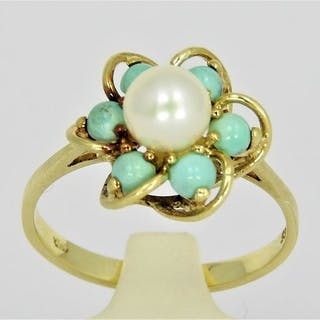 14 kt. Gold - Ring Pearl - Turquoise