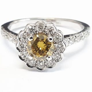 14 kt. White gold - Ring - 1.14 ct Diamond