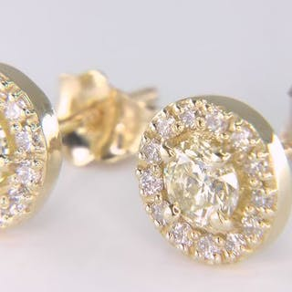 VS1-VS2! - 14 kt. Yellow gold - Earrings - Clarity enhanced 1.00 ct Diamond