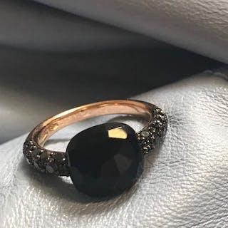 Pomellato - 18 kt. Pink gold - Ring onyx - black diamonds