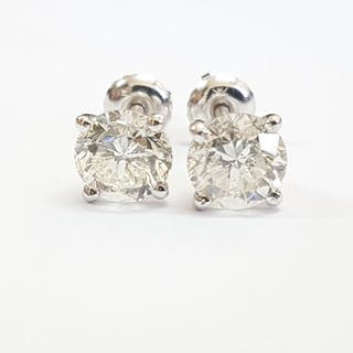 14 kt. White gold - Earrings - Clarity enhanced 2.60 ct Diamond