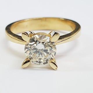 18 kt. Yellow gold - Ring - Clarity enhanced 1.37 ct Diamond