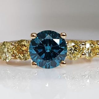 14 kt. Yellow gold - Ring - Colour Treated 2.26 ct Diamond