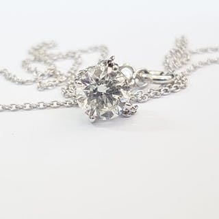 14 kt. White gold - Necklace with pendant - Clarity enhanced 1.29 ct Diamond