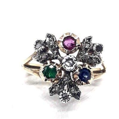a7e637932011a 14 kt. Yellow gold - Ring - 0.10 ct Diamond - Emerald, Ruby ...