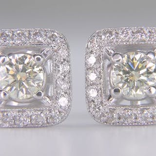 14 kt. White gold - Earrings - Clarity enhanced 1.12 ct Diamond - Diamonds, SI1!
