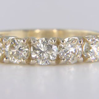 14 kt. Yellow gold - Ring - Clarity enhanced 1.63 ct Diamond - I-J VS1-VS2!