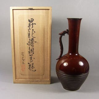 Vase - Bronze - Dragon - A high-quality bronze 'ikebana'...