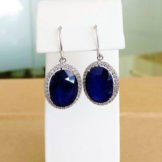 18 kt. White gold - Earrings - 27.80 ct Sapphire - Diamonds