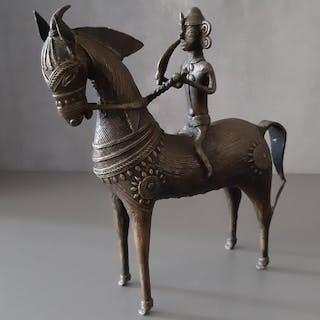 Skulptur - Bronze - Krieger zu Pferd - Indien - Ende des 20. Jahrhunderts