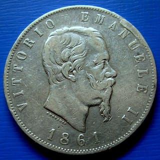 Italy - Kingdom of Italy - 5 Lire1861 - Torino - Vittorio Emanuele II - Silver