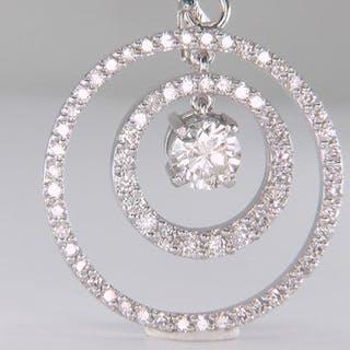 14 kt. White gold - Pendant - Clarity enhanced 1.33 ct Diamond - Diamonds