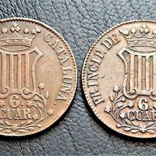 Spanien - Isabel II - Principado de Cataluña - 2 x 6 Cuartos: 1838, 1839