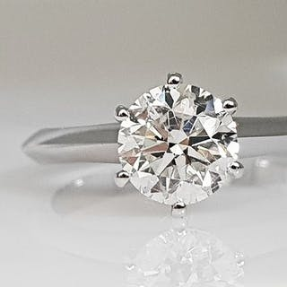 14 kt. Gold - Ring - Clarity enhanced 1.08 ct Diamond - No Reserve SI1