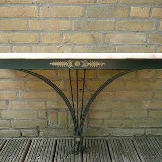 Francese Wrought ferro Marmo tavolo da console - Stile neoclassico