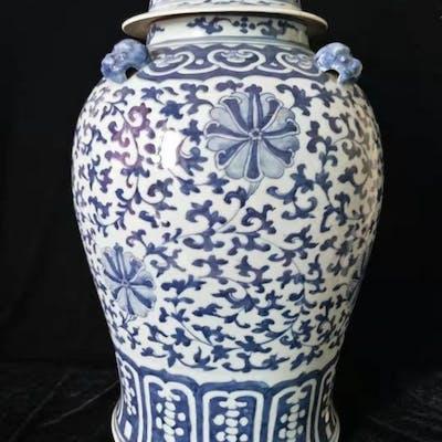 potiche - Bleu et blanc - Porcelaine - Fleur de Lotus...