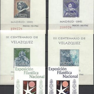 Spanien 1958/1961 - Brussels and Velázquez mini-sheets...