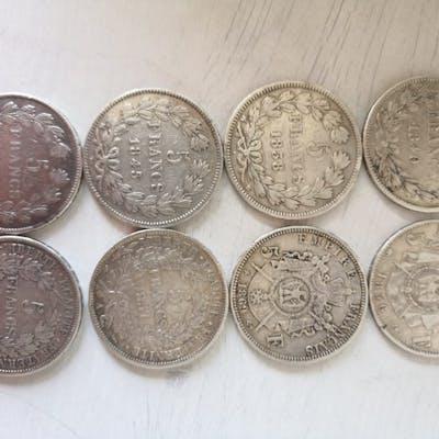 France - 5 Franc 1838B /1870A (8 pièces) - Argent