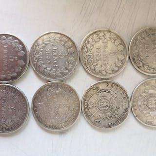 France - 5 Franc 1838B /1870A (8 pièces) - Silver