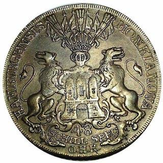Germania -  Hamburg Stadt - Taler o 48 Schilling 1763 OHK - Argento