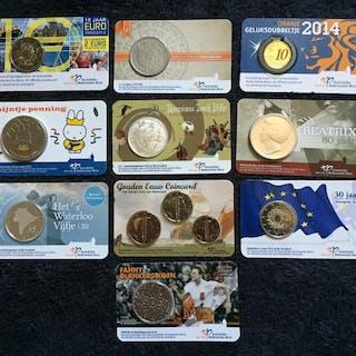 Die Niederlande - 10x coincard 2012 - 2019 met o.a. 2 Euro - 5 Euro - penning