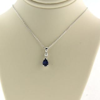 14 kt. White gold - Necklace with pendant - 0.06 ct Diamond - Sapphire