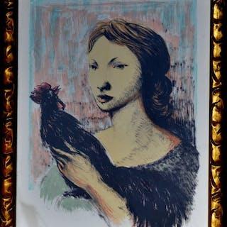 Domenico Purificato - Ragazza con gallo