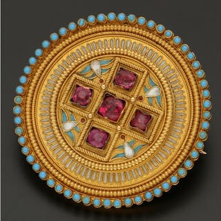 18 kt. Gold - Brooch Ruby - Turquoise