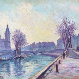 Julien Feron (1864-1944) - Paris, le pont Saint Michel