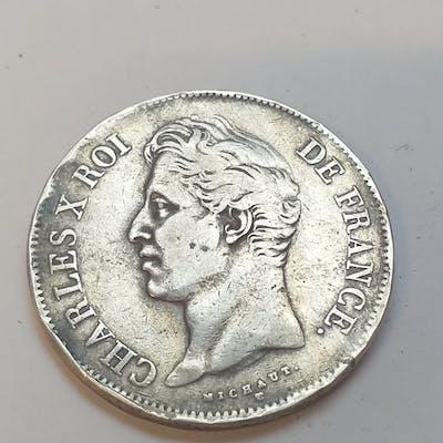 France - 5 Francs Charles X 1828 MA - Argent
