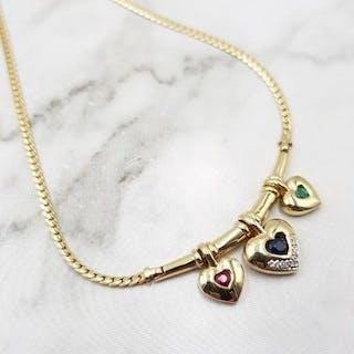 14 kt. Yellow gold - Necklace Sapphire - Diamonds, Emerald, Ruby