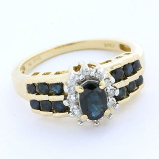 14 kt. White gold, Yellow gold - Ring - 1.00 ct Sapphire - Diamond