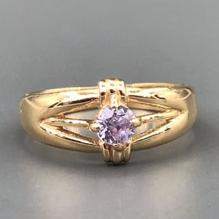 18 kt. Yellow gold - Ring - 0.25 ct Amethyst