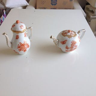 Herend - teapot & coffee pot with rust orange butterflies (2) - Porcelain