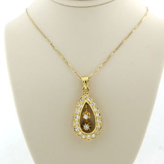 18 kt. Yellow gold - Necklace with pendant - 1.30 ct Diamond
