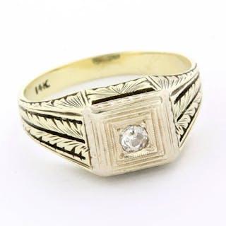 14 kt. Yellow gold - Antique Ring - 0.10 ct Diamond