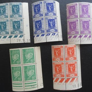 Frankreich 1936/1940 - A nice set of 17 blocks of 4 stamps with dated corners