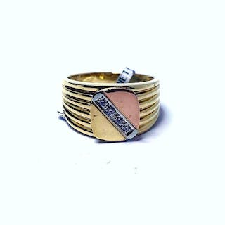 18 kt. Pink gold, White gold, Yellow gold - Ring Diamond
