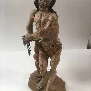 Sculpture, Christ in the dungeon - Baroque - Wood - Late 17th century