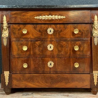 Empire style lady's chest of drawers with gilded caryatid...