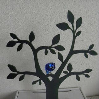 Swarovski - Display tree with Tropical bird Balabac. - Plastic and crystal.