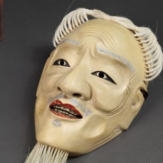 Noh mask (1) - Lacquer, Wood - Very fine, marked - Japan - Early 20th century
