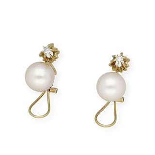 18 kt. South sea pearl, Yellow gold - Earrings - 0.30 ct Diamond