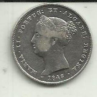 Portugal - Monarquia - D. Maria II (1834-1853) - 200 Reis1843- Silver