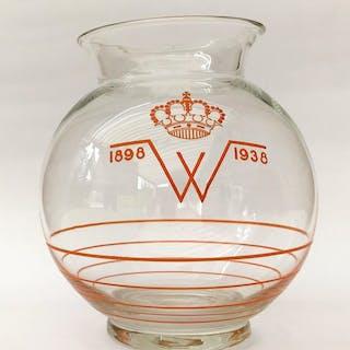 A.D. Copier - Leerdam - Orangenvase 40 Jahre Wilhelmina - 1938 - Glas