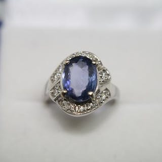 18 kt. White gold - Ring - 3.67 ct Tanzanite - Diamonds