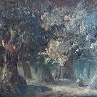 Willem Roelofs (1822-1897 ) Omgeving van - Figuren in het bos