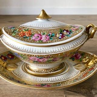 Limoges - Grande zuppiera in oro 1920 stile imperiale - Porcellana