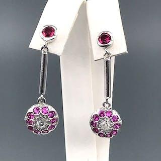 18 kt. White gold - Earrings - 0.20 ct Diamond - Rubys