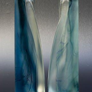 Jizerzke Sklo (Sklo Union) - Zwei dreieckige Glasobjekte - Glas